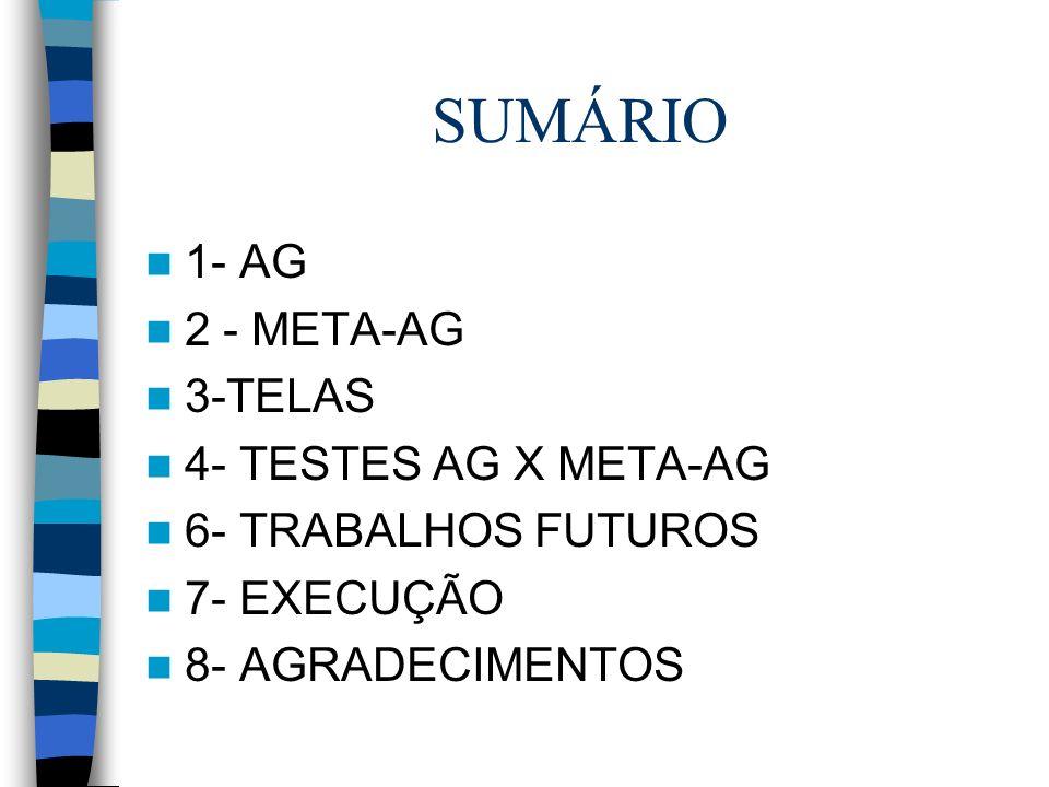 SUMÁRIO 1- AG 2 - META-AG 3-TELAS 4- TESTES AG X META-AG