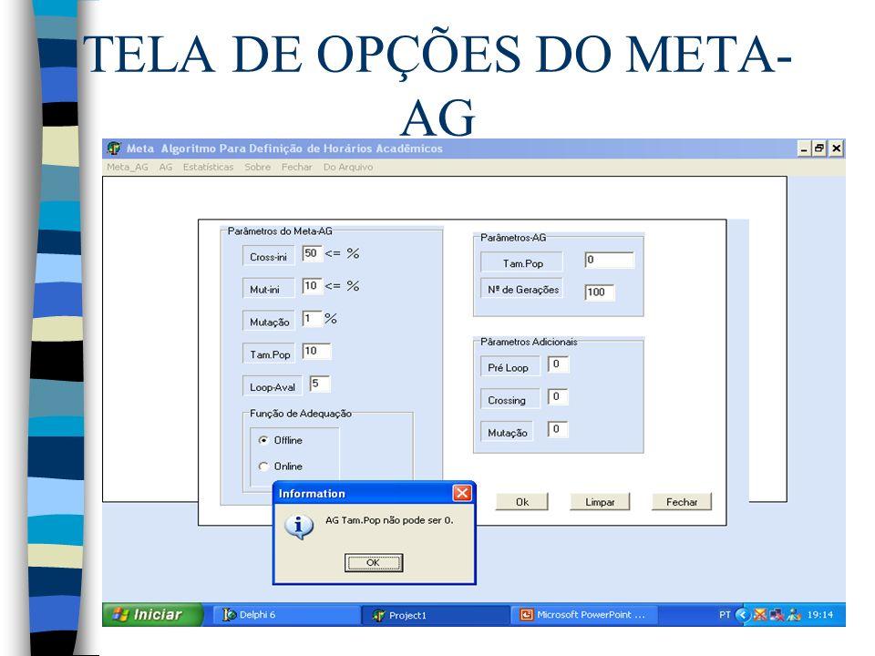 TELA DE OPÇÕES DO META-AG