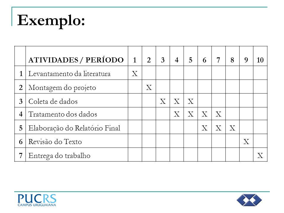 Exemplo: ATIVIDADES / PERÍODO 1 2 3 4 5 6 7 8 9 10