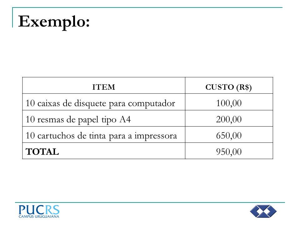Exemplo: 10 caixas de disquete para computador 100,00