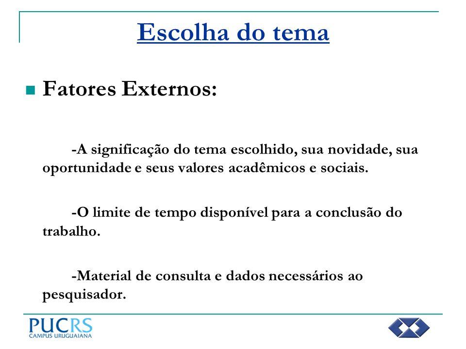 Escolha do tema Fatores Externos: