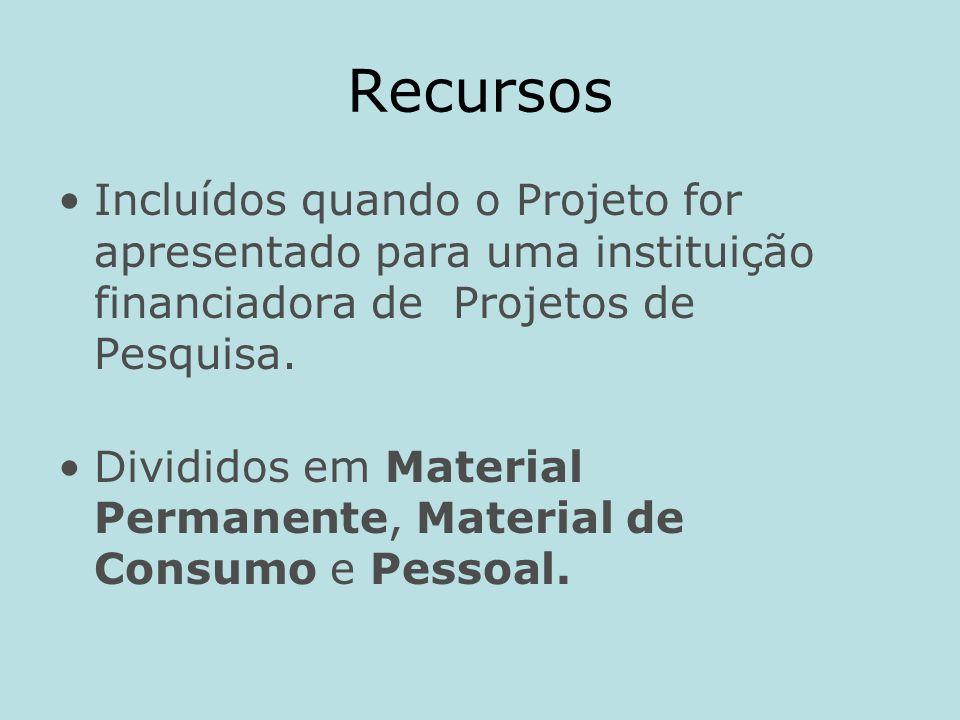 Recursos Incluídos quando o Projeto for apresentado para uma instituição financiadora de Projetos de Pesquisa.