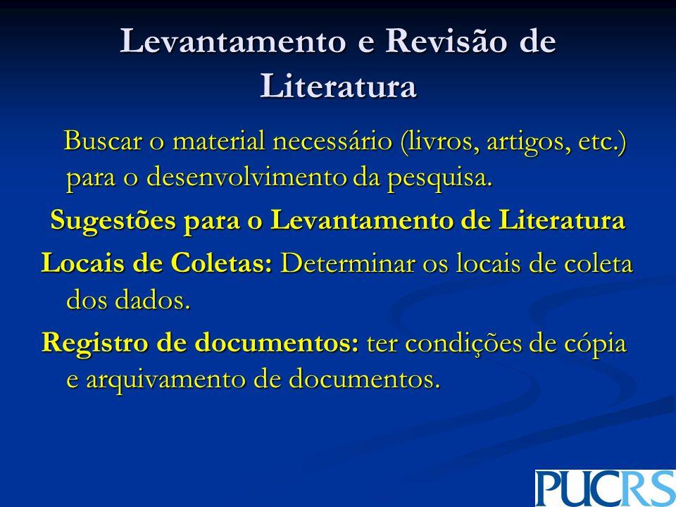 Levantamento e Revisão de Literatura