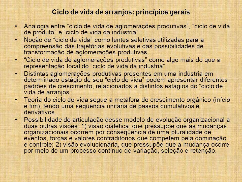 Ciclo de vida de arranjos: princípios gerais