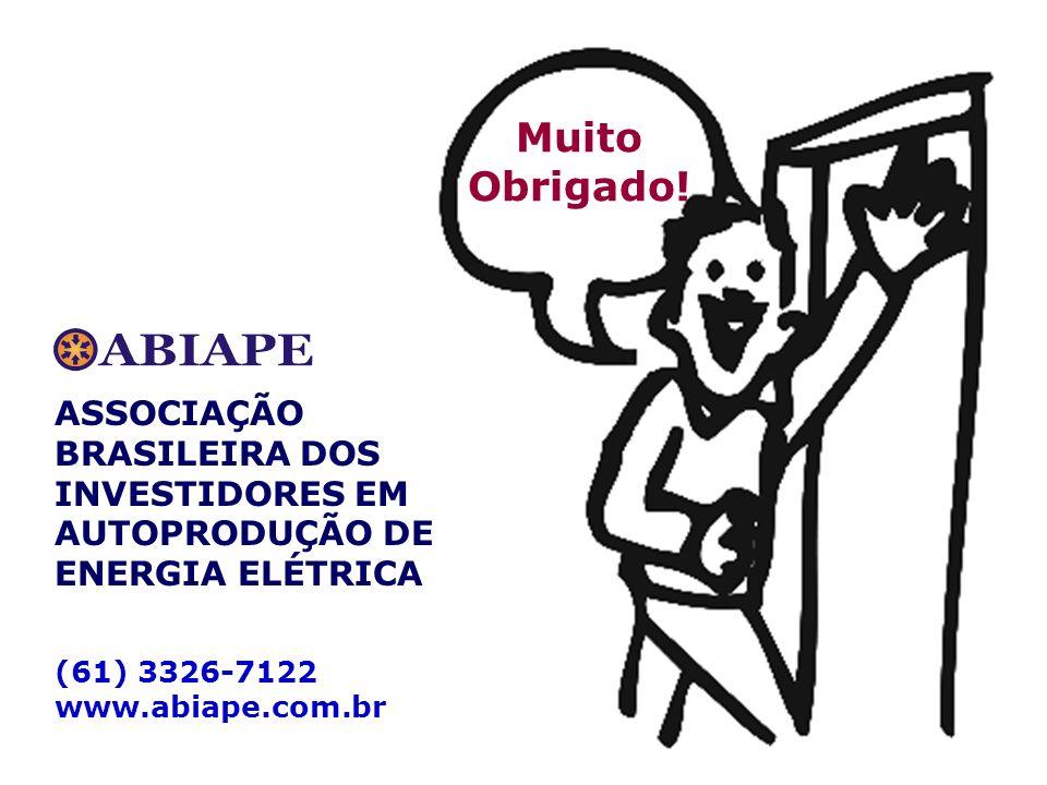 Muito Obrigado. ASSOCIAÇÃO BRASILEIRA DOS INVESTIDORES EM AUTOPRODUÇÃO DE ENERGIA ELÉTRICA.