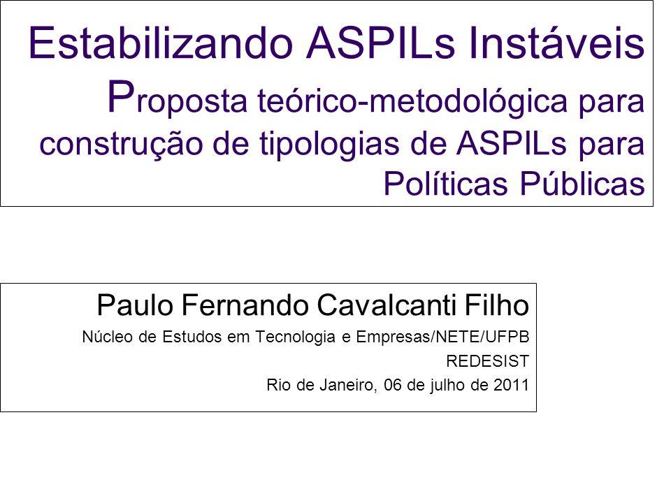Estabilizando ASPILs Instáveis Proposta teórico-metodológica para construção de tipologias de ASPILs para Políticas Públicas