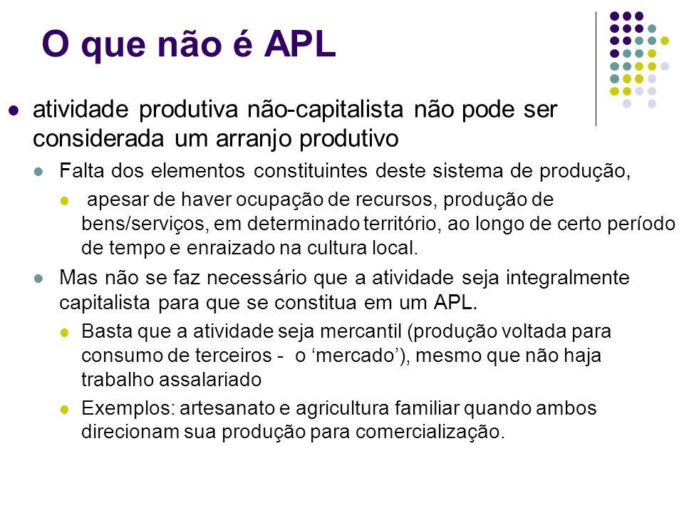 O que não é APL atividade produtiva não-capitalista não pode ser considerada um arranjo produtivo.