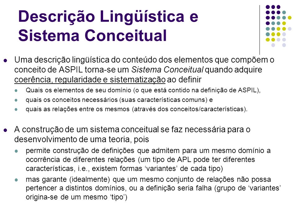 Descrição Lingüística e Sistema Conceitual
