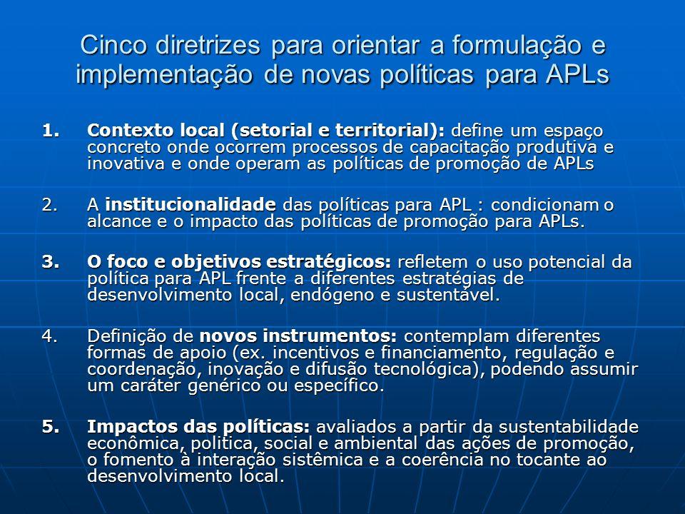 Cinco diretrizes para orientar a formulação e implementação de novas políticas para APLs