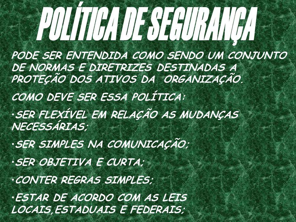 POLÍTICA DE SEGURANÇA PODE SER ENTENDIDA COMO SENDO UM CONJUNTO DE NORMAS E DIRETRIZES DESTINADAS A PROTEÇÃO DOS ATIVOS DA ORGANIZAÇÃO.