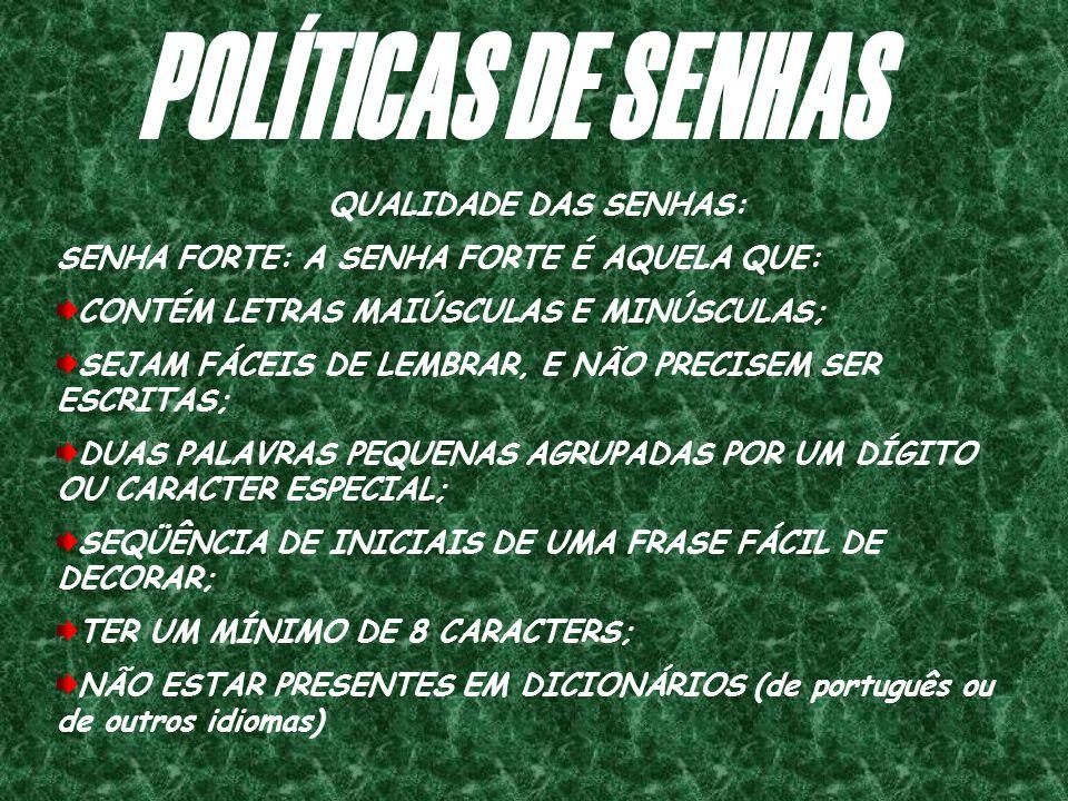 POLÍTICAS DE SENHAS QUALIDADE DAS SENHAS: