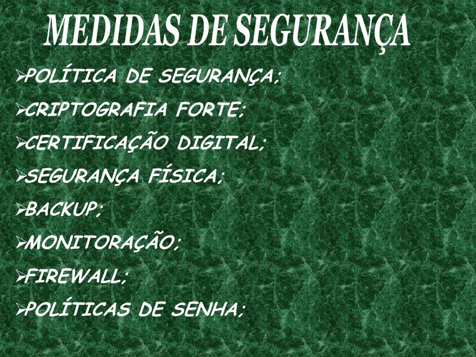 MEDIDAS DE SEGURANÇA POLÍTICA DE SEGURANÇA; CRIPTOGRAFIA FORTE; CERTIFICAÇÃO DIGITAL; SEGURANÇA FÍSICA;