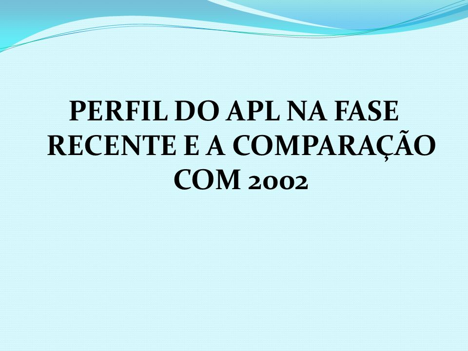 PERFIL DO APL NA FASE RECENTE E A COMPARAÇÃO COM 2002