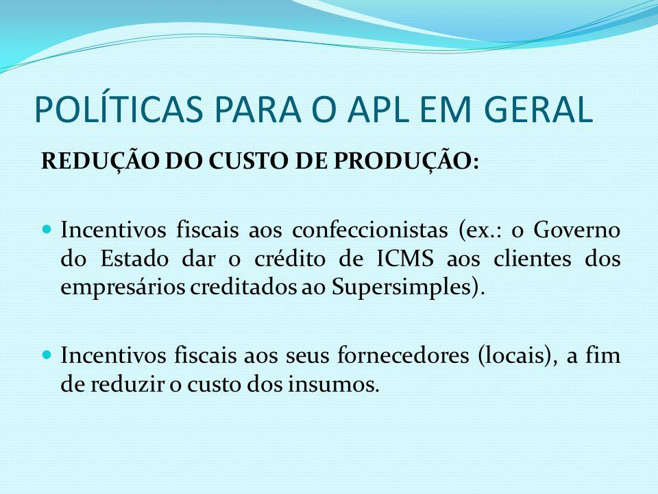 POLÍTICAS PARA O APL EM GERAL