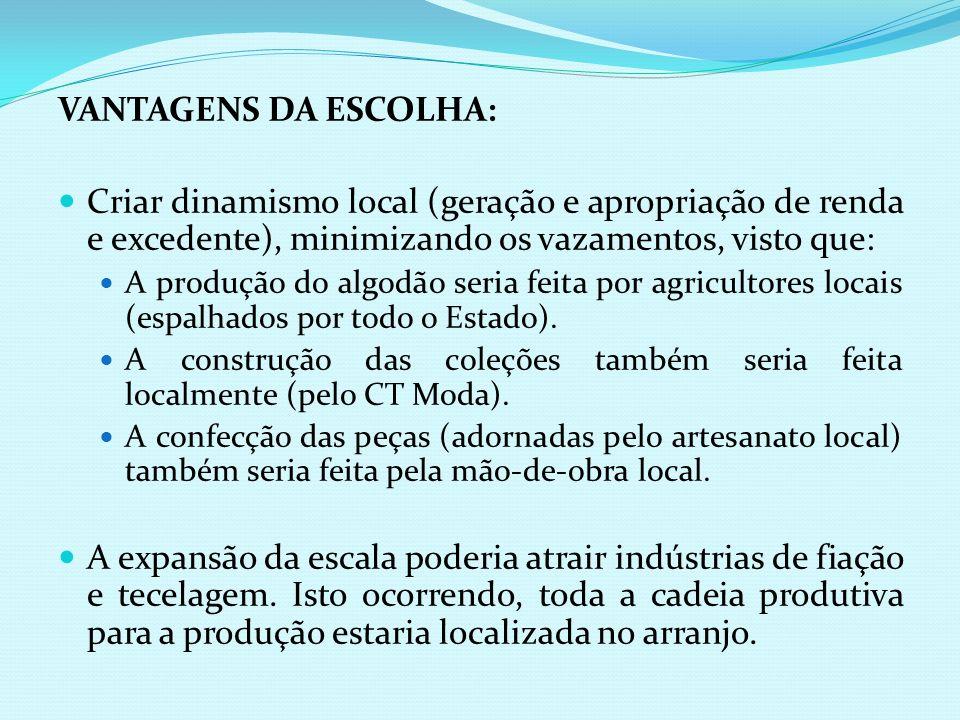 VANTAGENS DA ESCOLHA:Criar dinamismo local (geração e apropriação de renda e excedente), minimizando os vazamentos, visto que: