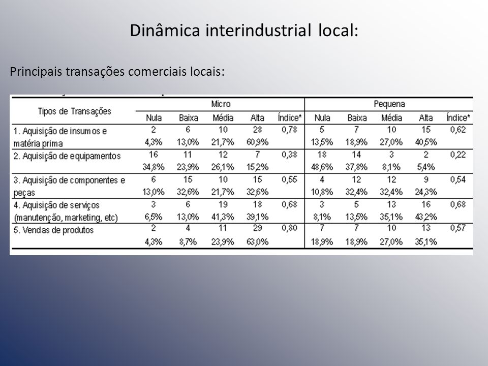 Dinâmica interindustrial local:
