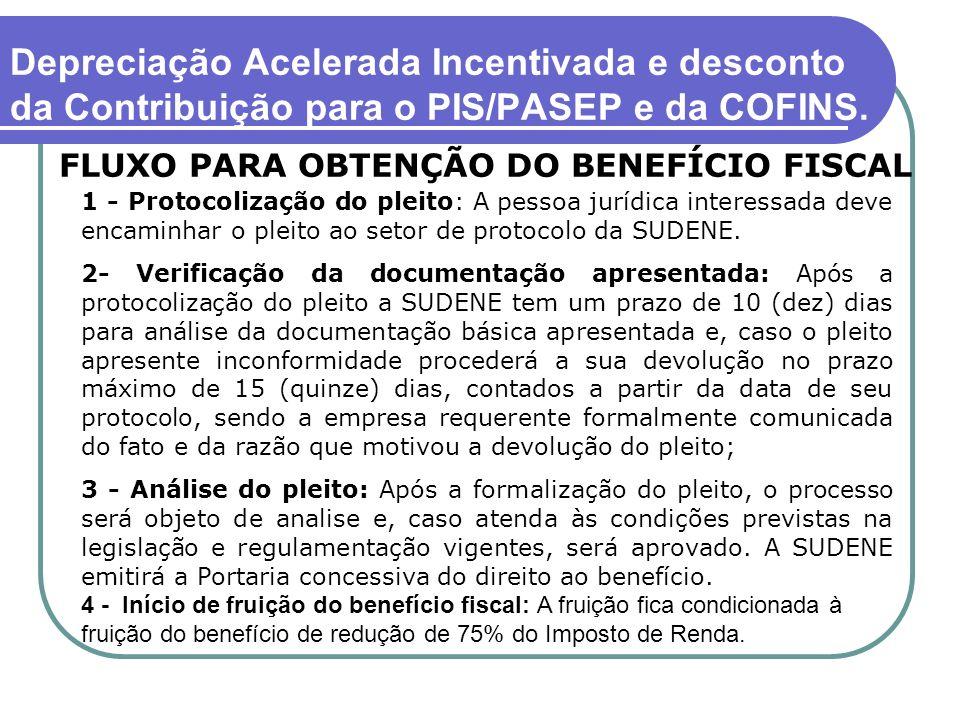 Depreciação Acelerada Incentivada e desconto da Contribuição para o PIS/PASEP e da COFINS.