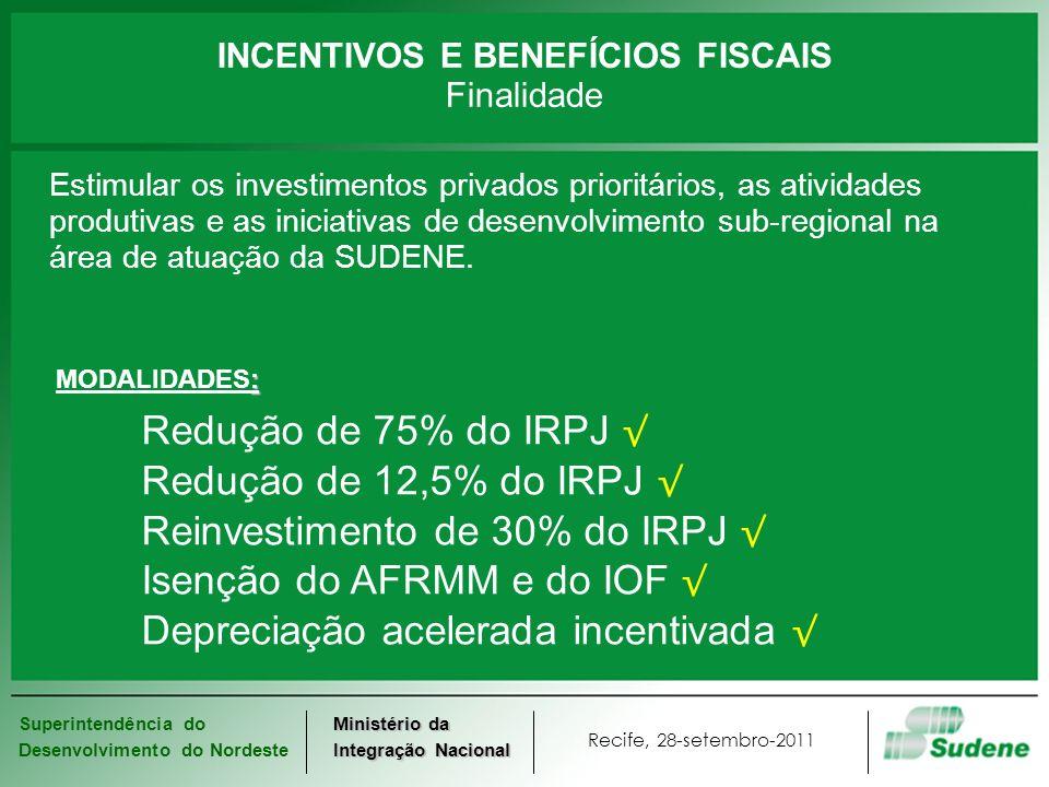 INCENTIVOS E BENEFÍCIOS FISCAIS Finalidade