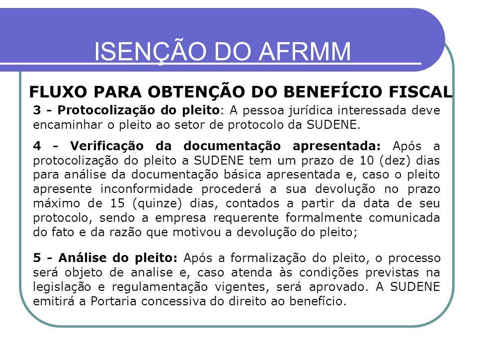 ISENÇÃO DO AFRMM FLUXO PARA OBTENÇÃO DO BENEFÍCIO FISCAL