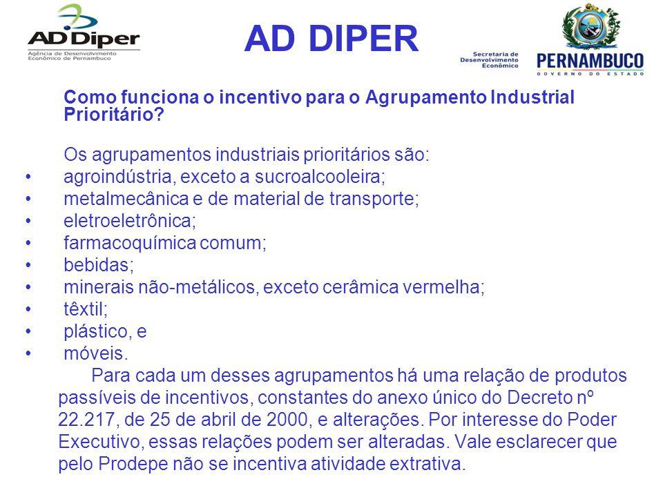 AD DIPER Como funciona o incentivo para o Agrupamento Industrial Prioritário Os agrupamentos industriais prioritários são: