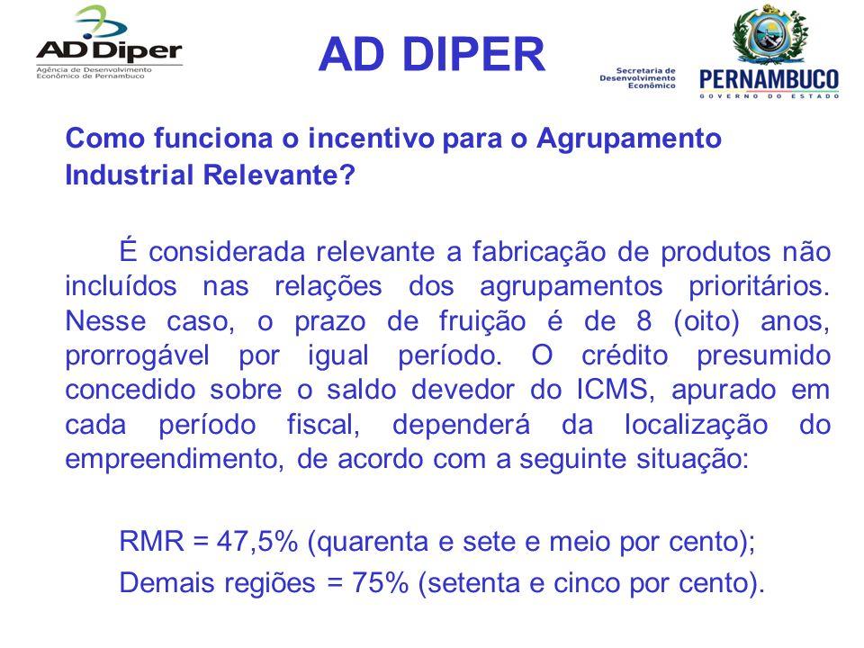 AD DIPER Como funciona o incentivo para o Agrupamento Industrial Relevante
