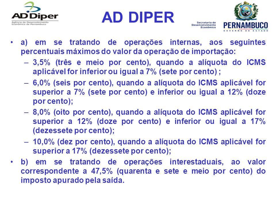 AD DIPER a) em se tratando de operações internas, aos seguintes percentuais máximos do valor da operação de importação: