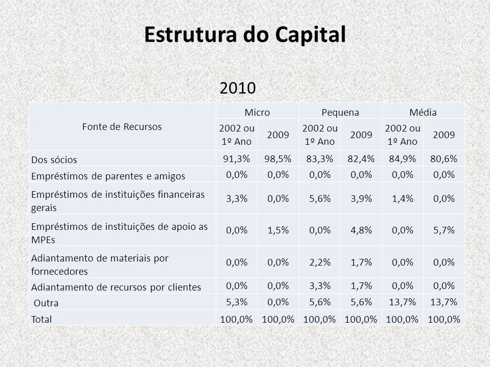 Estrutura do Capital 2010 Fonte de Recursos Micro Pequena Média
