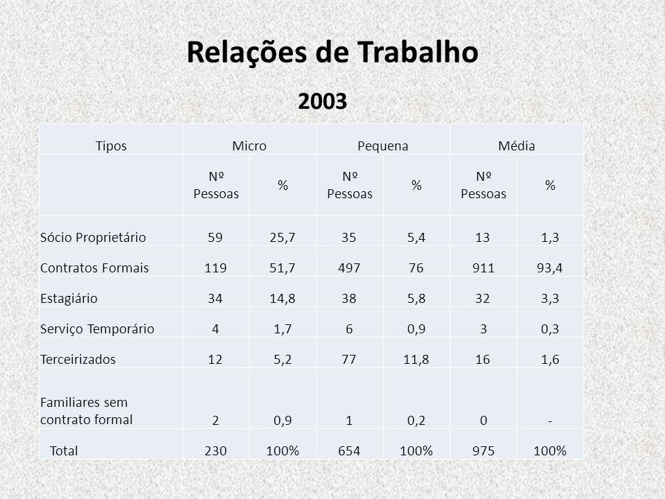 Relações de Trabalho 2003 Tipos Micro Pequena Média Nº Pessoas %
