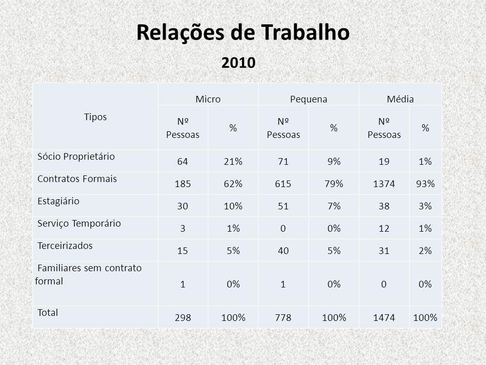 Relações de Trabalho 2010 Tipos Micro Pequena Média Nº Pessoas %