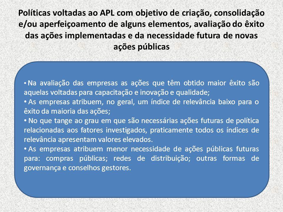 Políticas voltadas ao APL com objetivo de criação, consolidação e/ou aperfeiçoamento de alguns elementos, avaliação do êxito das ações implementadas e da necessidade futura de novas ações públicas