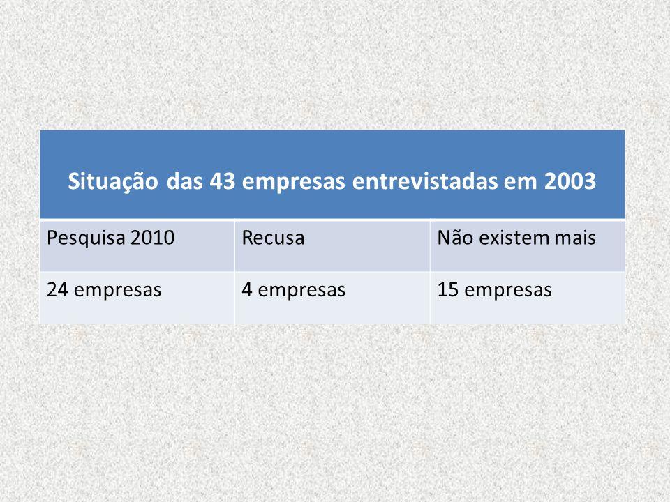 Situação das 43 empresas entrevistadas em 2003