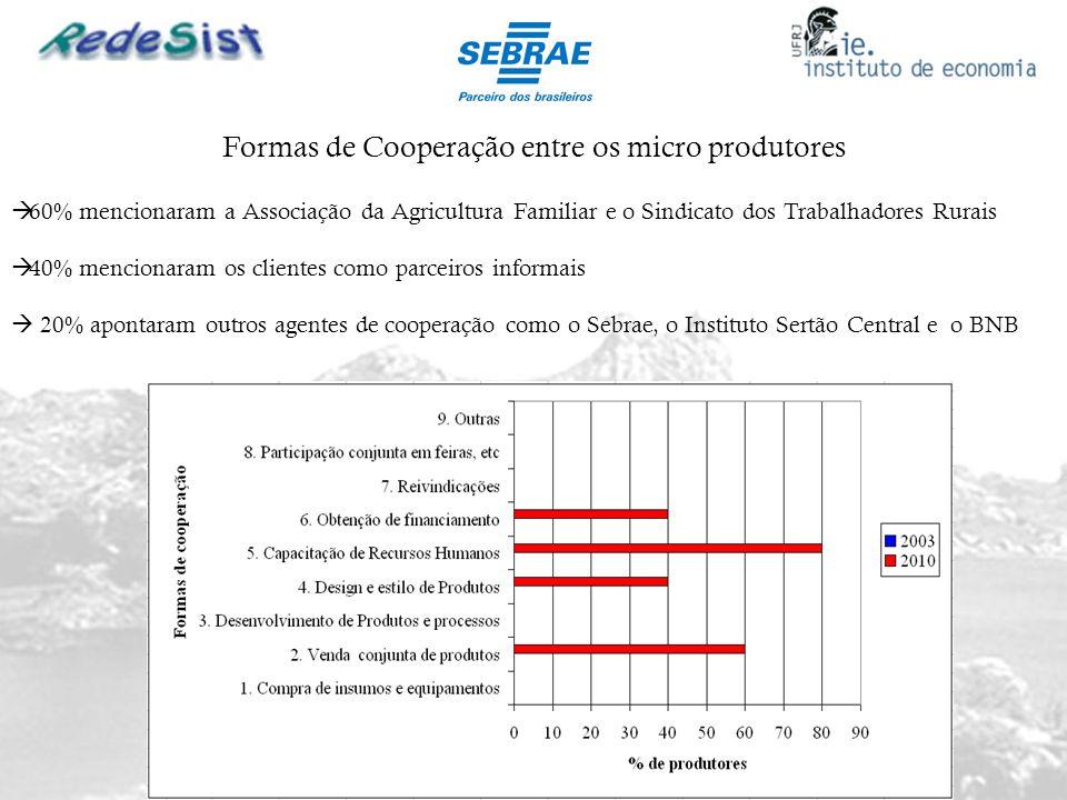 Formas de Cooperação entre os micro produtores
