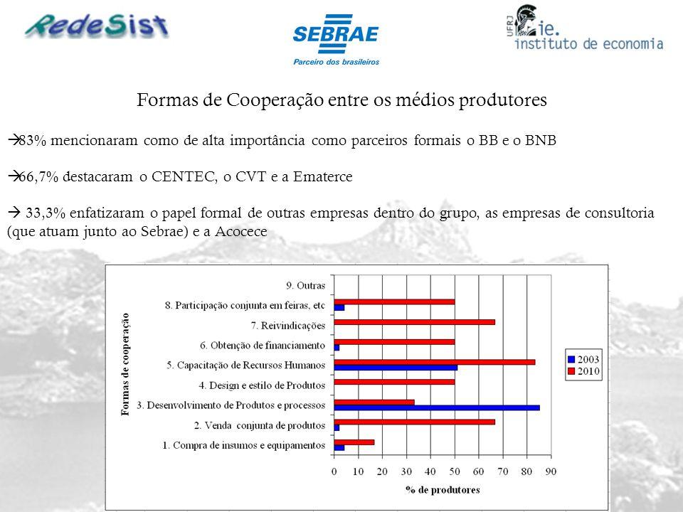 Formas de Cooperação entre os médios produtores