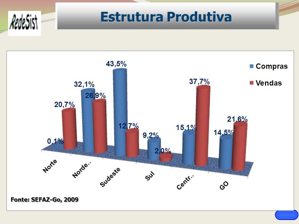 Estrutura Produtiva Fonte: SEFAZ-Go, 2009