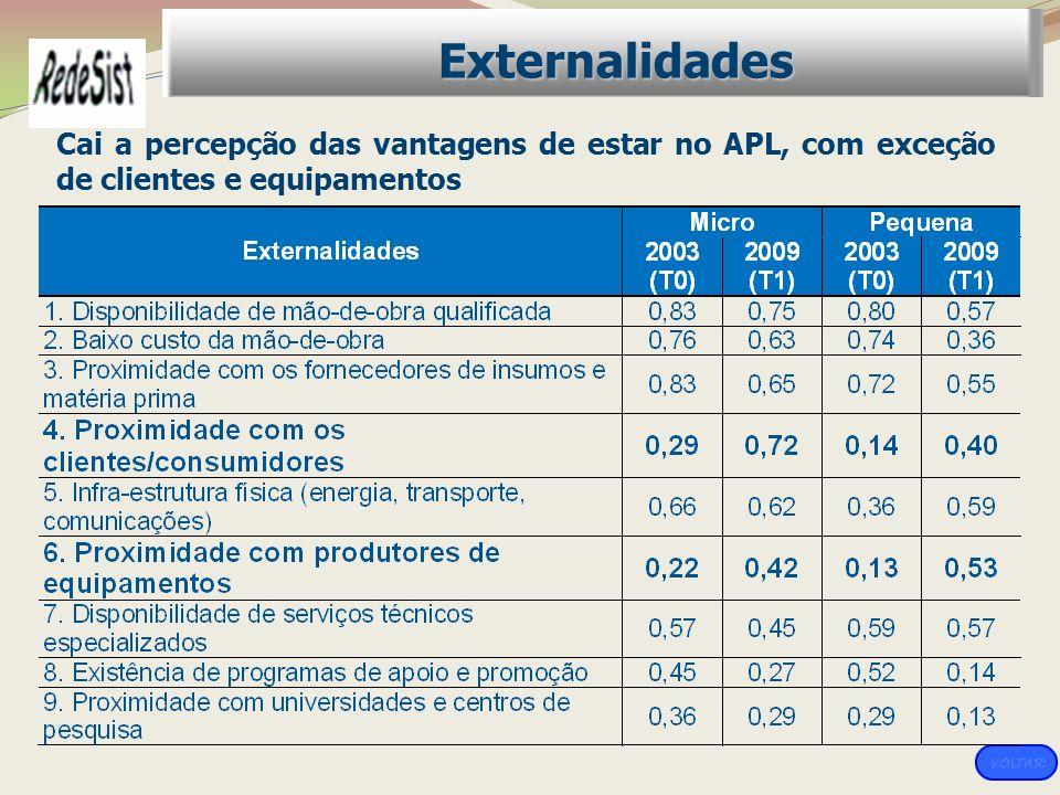 Externalidades Cai a percepção das vantagens de estar no APL, com exceção de clientes e equipamentos.