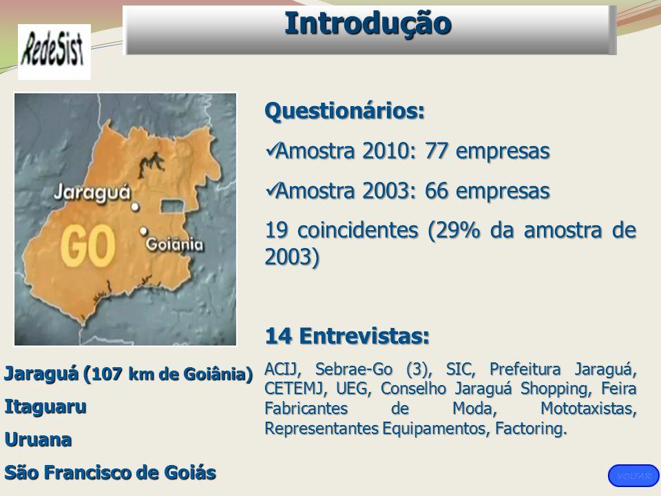 Introdução Questionários: Amostra 2010: 77 empresas