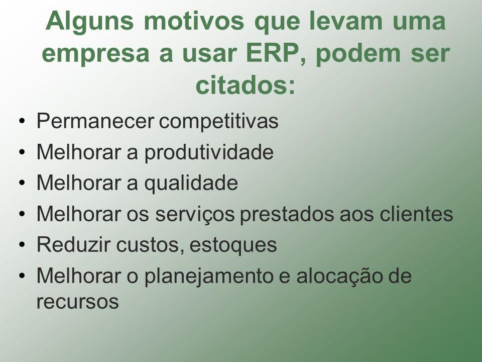Alguns motivos que levam uma empresa a usar ERP, podem ser citados: