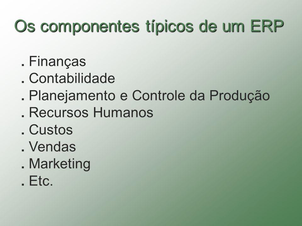 Os componentes típicos de um ERP