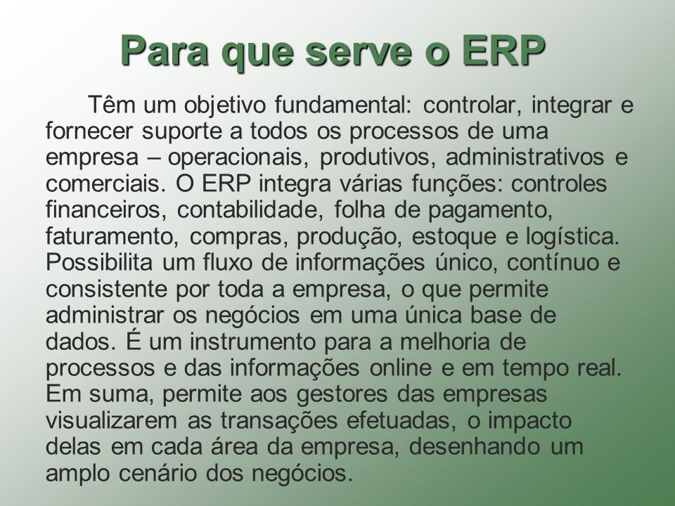 Para que serve o ERP