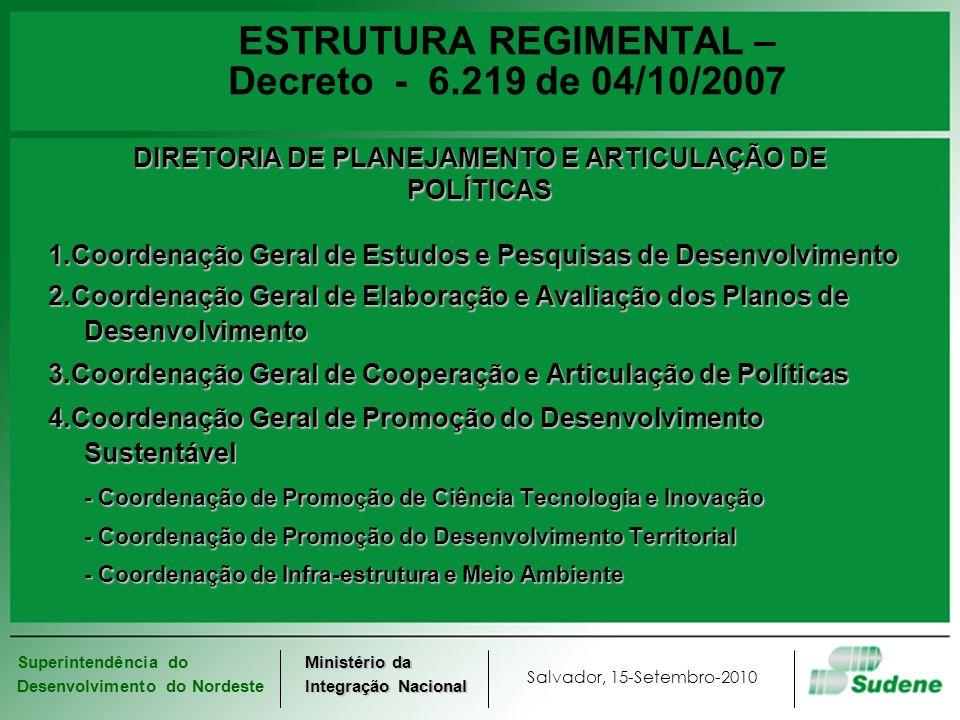 ESTRUTURA REGIMENTAL – Decreto - 6.219 de 04/10/2007