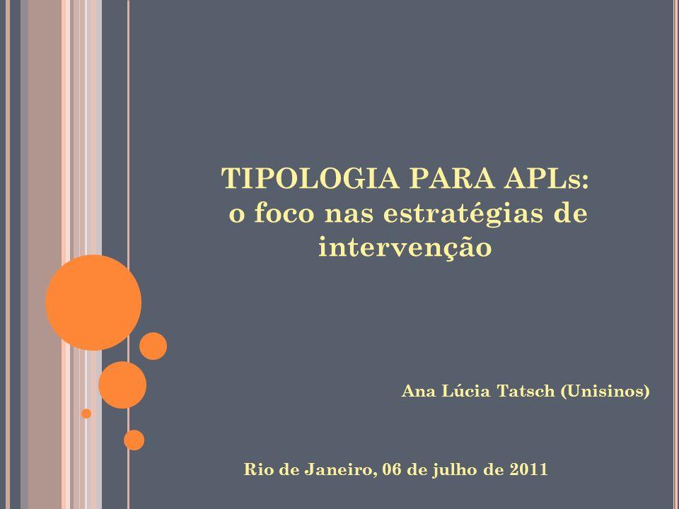 TIPOLOGIA PARA APLs: o foco nas estratégias de intervenção
