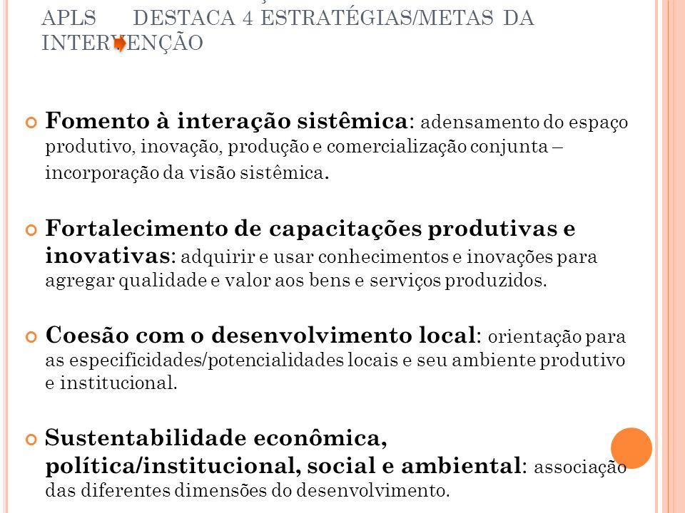 GTP – APL 2° GERAÇÃO DE POLÍTICAS PÚBLICAS PARA APLS DESTACA 4 ESTRATÉGIAS/METAS DA INTERVENÇÃO