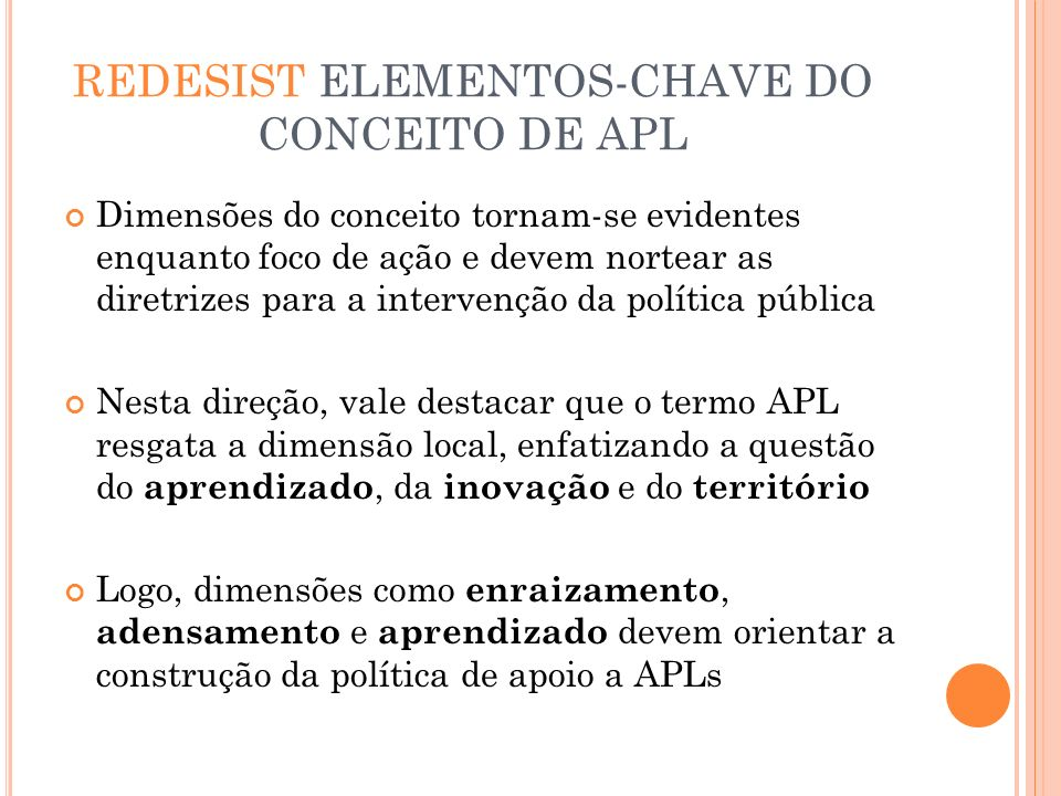 REDESIST ELEMENTOS-CHAVE DO CONCEITO DE APL