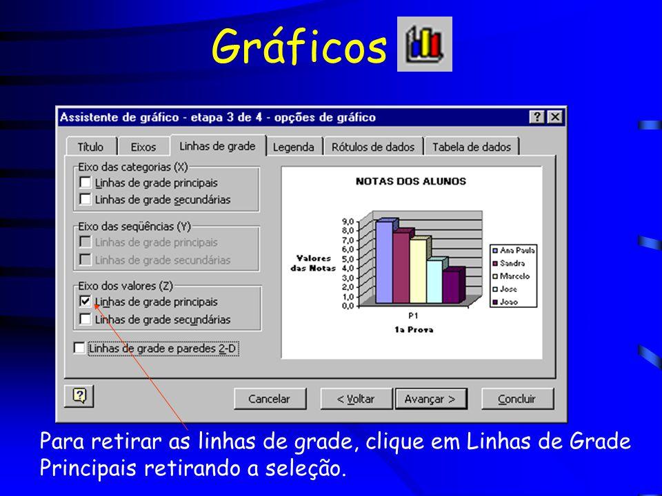 Gráficos Para retirar as linhas de grade, clique em Linhas de Grade