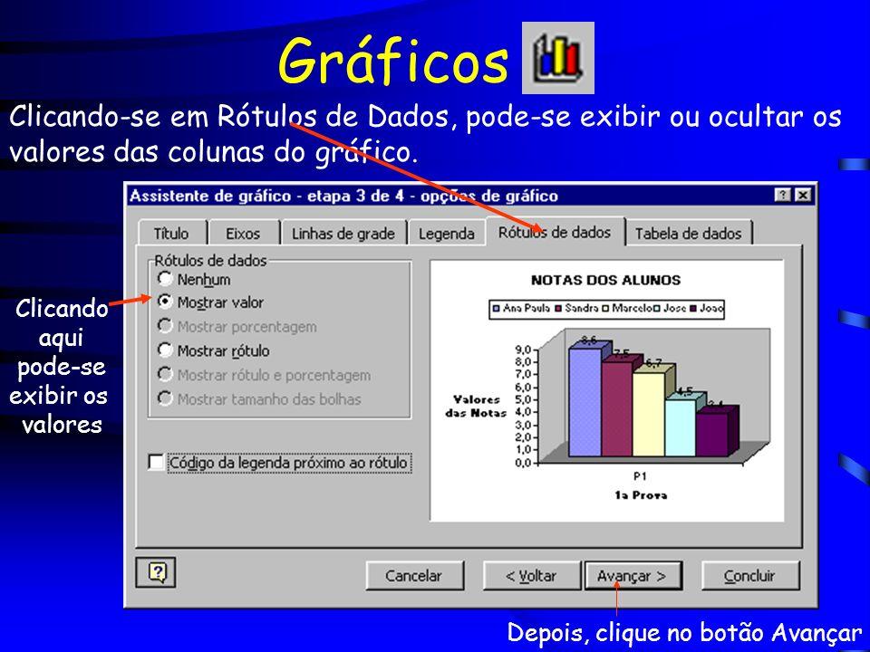 Gráficos Clicando-se em Rótulos de Dados, pode-se exibir ou ocultar os