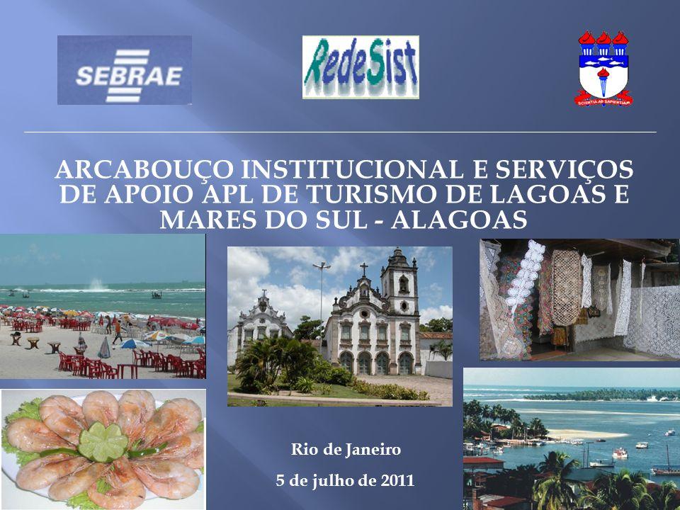 ARCABOUÇO INSTITUCIONAL E SERVIÇOS DE APOIO APL DE TURISMO DE LAGOAS E MARES DO SUL - ALAGOAS. Rio de Janeiro.