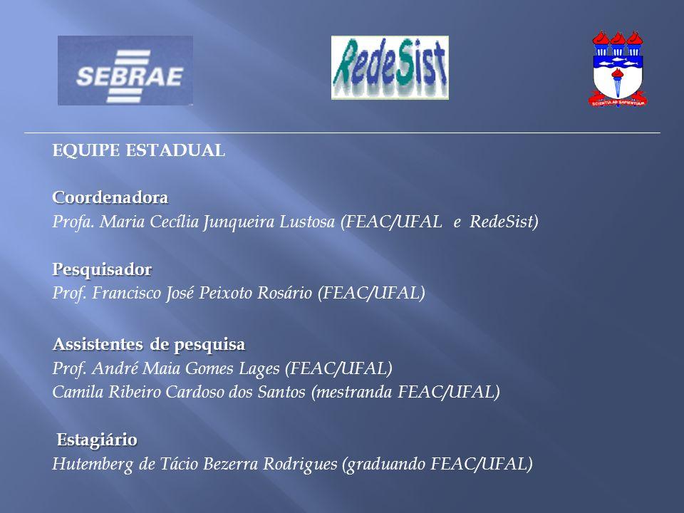 EQUIPE ESTADUAL Coordenadora. Profa. Maria Cecília Junqueira Lustosa (FEAC/UFAL e RedeSist) Pesquisador.