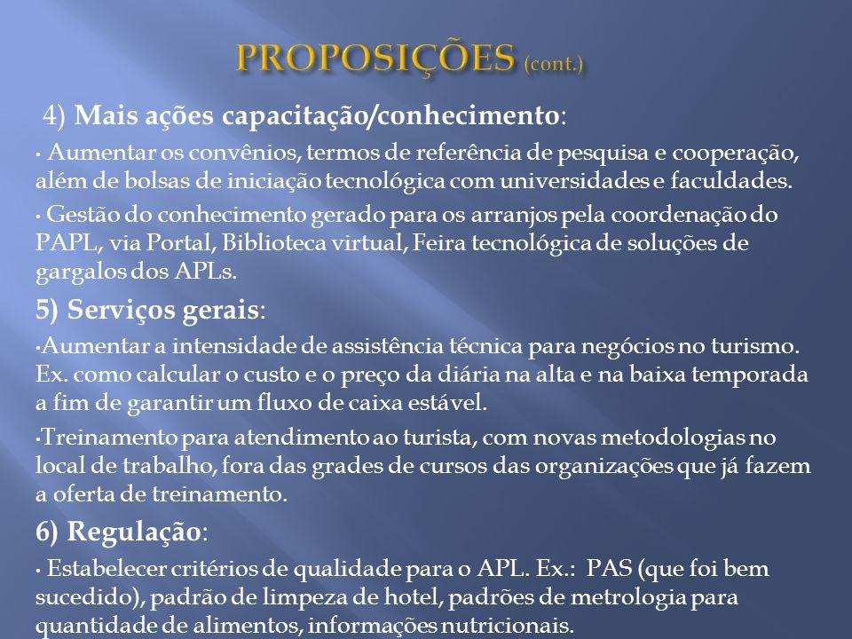 PROPOSIÇÕES (cont.) 4) Mais ações capacitação/conhecimento: