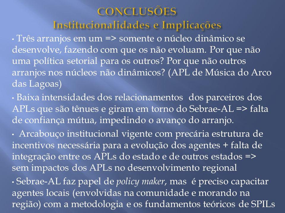 CONCLUSÕES Institucionalidades e Implicações