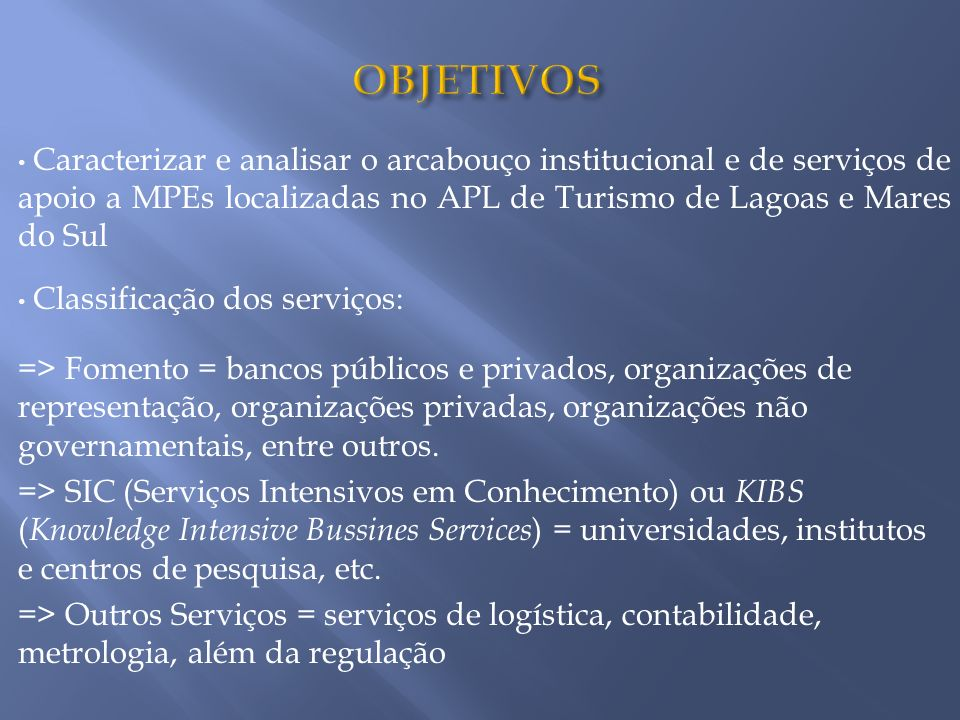 OBJETIVOS Caracterizar e analisar o arcabouço institucional e de serviços de apoio a MPEs localizadas no APL de Turismo de Lagoas e Mares do Sul.
